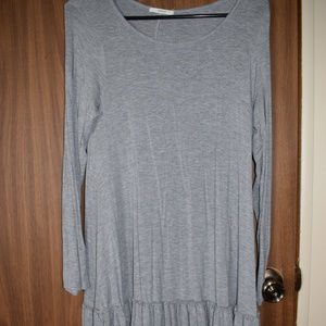 Easel Grey Long-Sleeve Ruffle Dress Size S